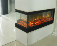2 sided electric fireplace with decor flame