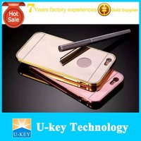 slide-able mirror back metal 5.5 inch mobile phone case, golden case for iPhone 6