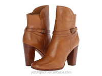 JUSITY Top one quality sexy brown and camel color high heel women in leather half boots