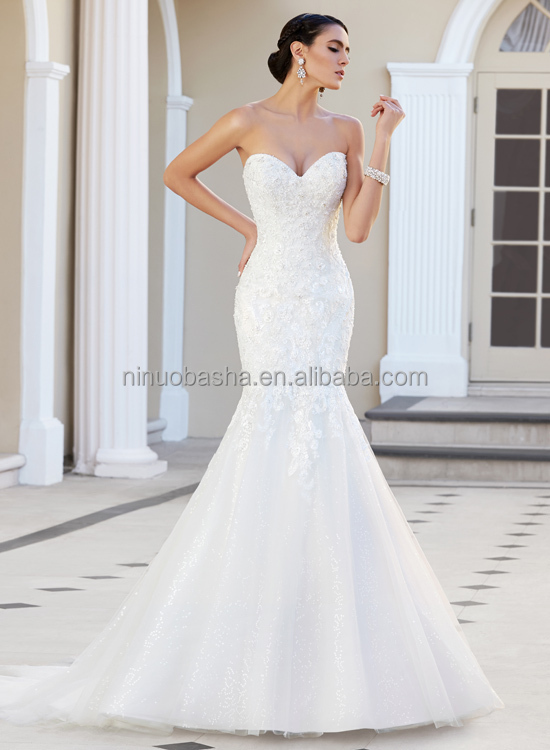 2015 custom fit mermaid wedding dress strapless sweetheart for Low cut mermaid wedding dress
