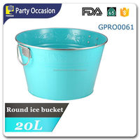 Party tub with flower texture and stainless handle & rim