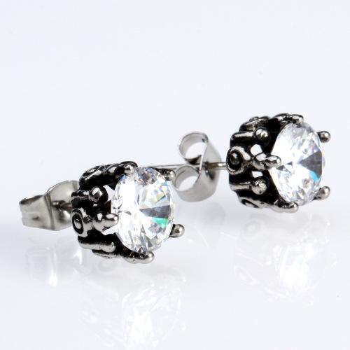 White Black Diamonds Stone Ear Stud for Girl, Stainless Steel Plating Stud Earrings Cool Unique Wine Glass Shape Ear Rings