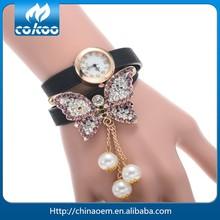 Fashion Leather Wrap Weave Band Women Watch Bracelet Quartz Watch Wrist Watch Butterfly Pendant