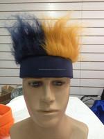 very dark blue and golden crazy hair with very dark blue headband
