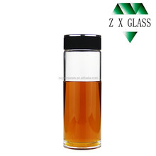 Heat-resistant brosilicate glass water bottle / glass drink tea water bottle / glass travel water bottle 400ml with plastic cap