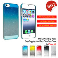 Water dropping 3D colorful cover case for iphone 5c cases red color