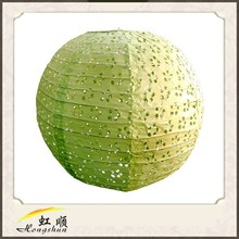 Festival 20'' Light Lime Lace Look Paper Lantern Value Pack Party Accessory