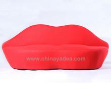 Fashion pretty design cashmere sofa 2 seater Lip red sofa