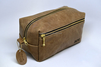 High Quality Brass Zipper Locked Mens Leather Toiletry Bag