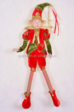 18 inch New Style Christmas Elf with hats/ artificial face and silm legs/Novelty green sequin elf hat for Christmas