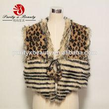 2014 Invierno Nuevo producto La Beau Brown del estampado leopardo Mujeres de moda de piel falsa Wrap