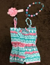 Cotton baby bubble halter romper summer,girl Boutique Rompers baby Jumpsuits,kids aztec baby romper set infant girl clothes