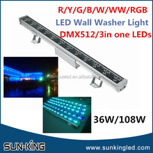 SUN-KING 108W 3 in one rgb led wall washer DMX512 control led wall washer 36*3W IP66