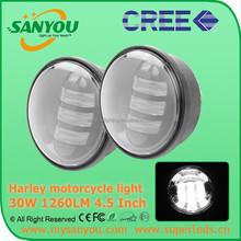 Sanyou 30W 1260lm black Harley LED Fog Light, 6000k led Fog Light, 4.5inch motorcycle light