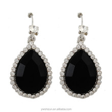 Silver jewelry hot new products for 2015 teardrop thread cubic zirconia black druzy earrings
