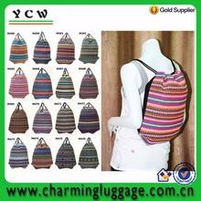 Personalized multi-color hippie backpack string bag handmade drawstring bag