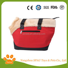 China Supplier Red Color Beauty Dog Bag With Plush Material
