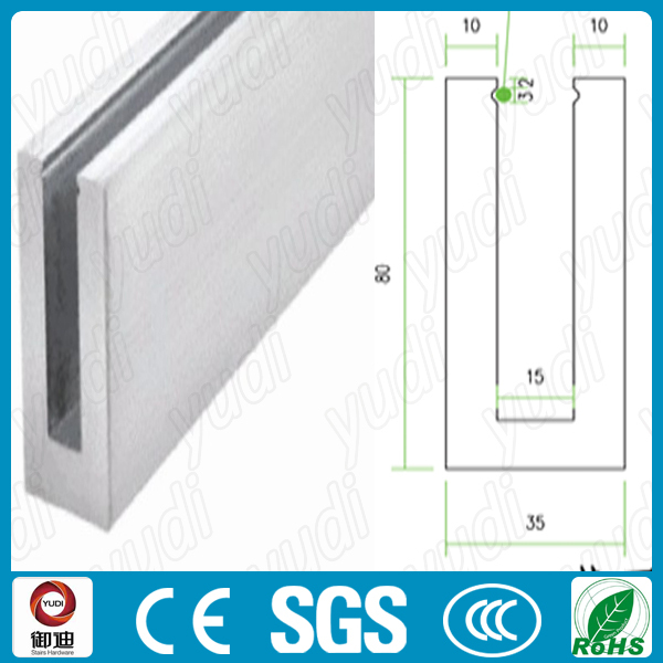 Modern Exterior Used Aluminum U Base Channel Shoe Glass