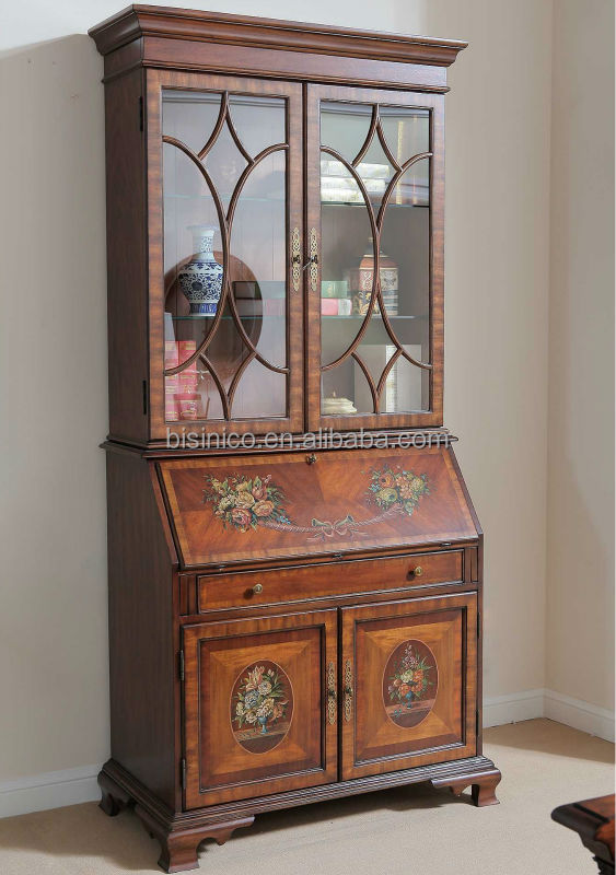 Painted Cabinet With Glass Writing Doors