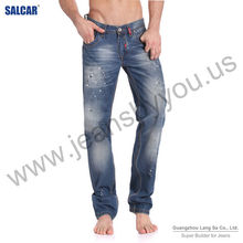 Men's Relaxed Blue with Grinding White Denim Jeans 2014 fashion denim jeans wholesale china