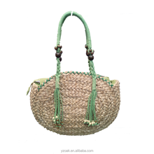 2015 Hot selling popular 100% hand made Circular tassel straw bag