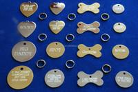 BRASS NAME PET TAGS DOG CAT PERSONALISED PET ID TAG FREE ENGRAVING & SPLIT RING