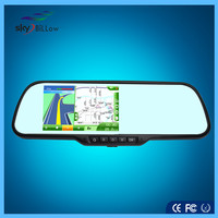 Car dvr rear view mirror with GPS navigation and with wirless camera record