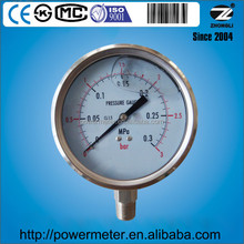 100mm pressure gauge bottom connection all stainless steel with double reading 3bar and 0.3Mpa