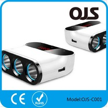 China supplier emergency Fashion Promotional USB Car Charge 2 core 2 USB port and 3 socket adapter