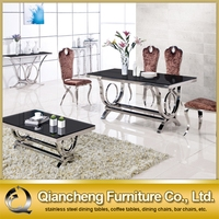 6 seater glass top metal frame dining table 842#