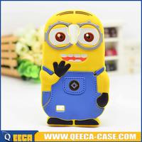 3D cute rubber silicone minion case for samsung galaxy s4 mini i9190
