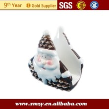 de cerámica sostenedor de la servilleta con el padre de navidad