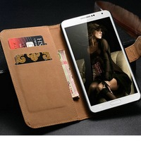 Lovely appearance genuine leather stand function card holder luxury phone case cover wallet bag for samsung galaxy note 3