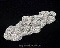 Pearl Applique, Rhinestone Applique, Beaded Applique, Embellishment for Diy Weddings, Bridal Accessories, Bridal Garters, Headba