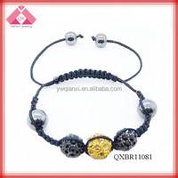 Custom Adjustable Fashion Braided beads to make bracelets shamballa bracelet (QXBR11081)