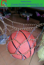 chain link basketball nets and metal hoop outdoor sports