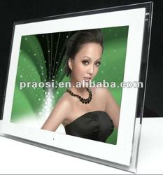 """full hd 1080p acrylic digital photo frame 17"""" with 16GB storage for video download"""