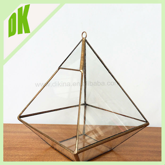 Mini Wall Hanging Air Plant Holder Clear Beveled Stained