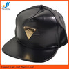 Newest design high quality custom black leather snapback hats