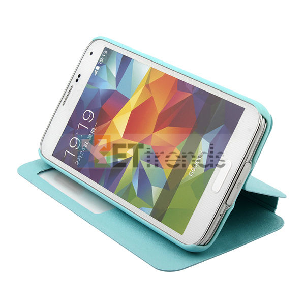 2014 most popular s view silk grain leather flip case for samsung s5