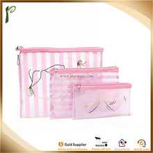 Popwide New Design Pink 3pcs in 1 set PVC Pretty Packaging Gift Bag