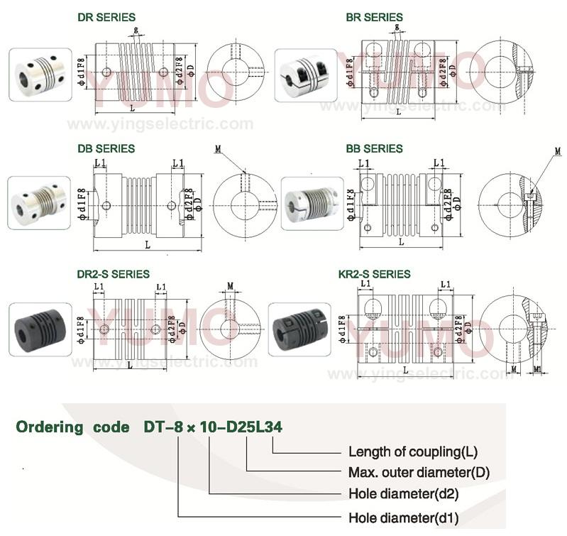 YUMO (LR D15 L20 4X4) Aluminum Coupling Flexible Coupling Winding Motor Encoder Coupling