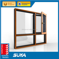 Wood color Aluminium double glazed windows for aluminium awning windows with invisible mosquito nets