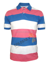 customized new design yarn dyed striped100% polo t-shirt,colorful leisure short sleeve polo t shirts for man and boys