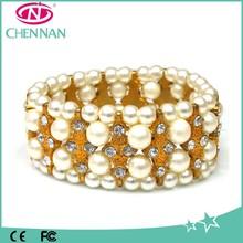 Clear crystal Pearl pretty elastic bangle bracelet wholesale bridal bangle bracelet
