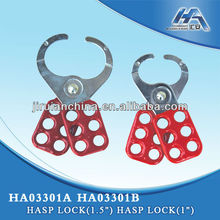 "Hasp Lock(1"") (1.5""),Lockout Hasp with Vinyl Coated Handle,Six holes for padlocks"