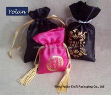 Custom Logo Silk Satin Bag, Drawstring Bag
