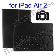 2 in 1 Detachable Wireless Bluetooth Keyboard Case for iPad Air 2 with Camera Remote Function