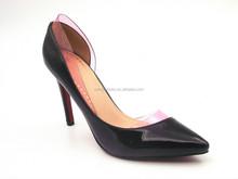 Pump Shoes Pointed Toe Sides Empty high Heel party shoe with plastic