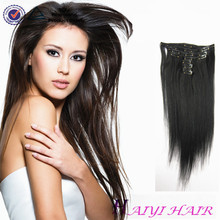 High Quality Natural Black Color Straight Clip In Brazilian Virgin Human Hair Extensions For Black Women